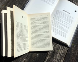 Books open on a table: how many words?